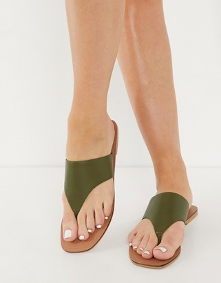 ASOS DESIGN Folly leather toe thong sandals in khaki