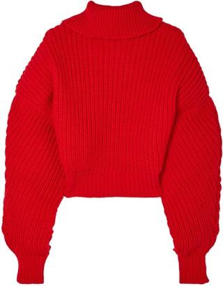 Awake Cropped Oversized Wool Turtleneck Sweater