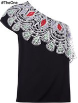 Peter Pilotto one shoulder embroidered top