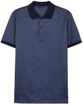 Pal Zileri Navy Geometric-jacquard Cotton Polo Shirt
