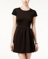 B. Darlin Juniors' Embellished Scuba Fit & Flare Dress, A Macy's Exclusive