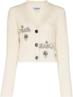 Ganni Jacquard Knit Detail Cardigan