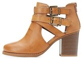 Charlotte Russe Buckled Cut-Out Ankle Booties