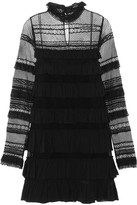 Isabel Marant Trevor Ruffled Silk-georgette And Lace Turtleneck Mini Dress - Black