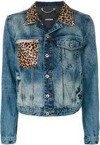 Diesel leopard print detail denim jacket