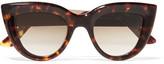 Ellery Quixote Cat-eye Acetate And Gold-tone Sunglasses - Tortoiseshell