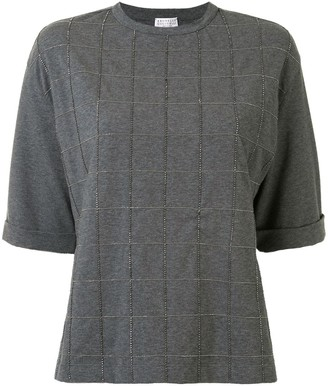 Brunello Cucinelli brass-embellished check T-shirt