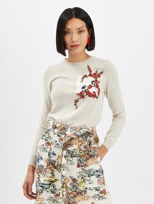 Oscar de la Renta Embroidered Pullover