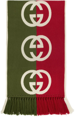 Gucci Green and Red Wool Logo Scarf