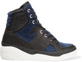 DKNY Chrystie Suede And Leather High-Top Wedge Sneakers