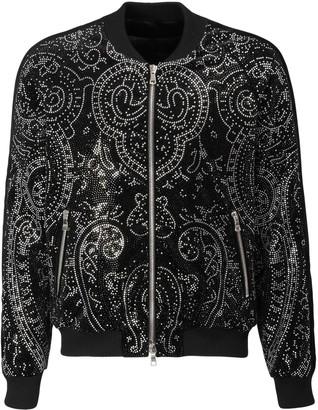 Balmain Paisley Cotton Velvet Bomber Jacket