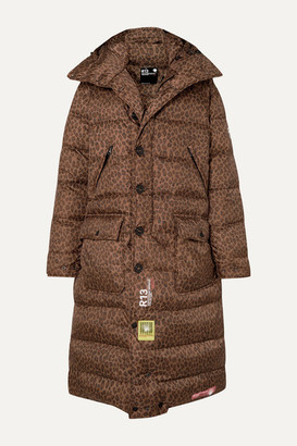 BRUMAL r13 Hooded Quilted Leopard-print Shell Down Coat - Brown