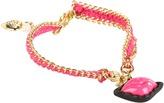 Betsey Johnson Bracelet Boost Lips Friendship Bracelet (Fuchsia/Antique Gold) - Jewelry