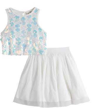 Knitworks Girls' 2-Piece Sequin Crop Top with Skirt