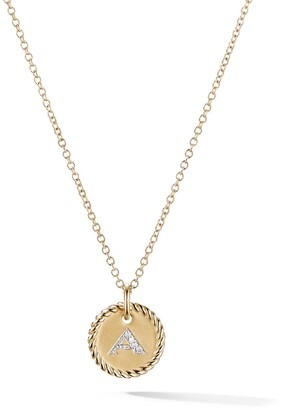 David Yurman 18kt yellow gold Cable Collectibles diamond A initial pendant necklace