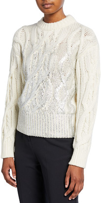 Pinko Cable-Knit Crewneck Sweater with Metallic Detail