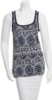 Tory Burch Printed Scoop Neck Top