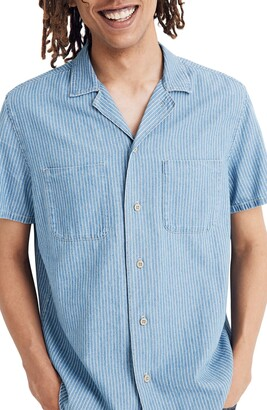Madewell Easy Indigo Railroad Stripe Camp Shirt