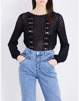 Claudie Pierlot Floral-knitted cotton-blend jumper