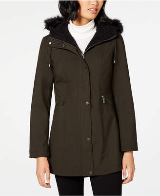 French Connection Faux-Fur-Trim Hooded Raincoat