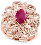 Effy Amoré by Certified Ruby (1-3/8 ct. t.w.) and Diamond (3/8 ct. t.w.) Statement Ring in 14k Rose Gold