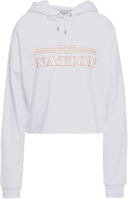 P.E Nation Neon-trimmed Printed Cotton-fleece Hooded Sweatshirt