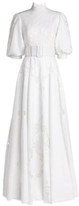 Costarellos Alessie Belted Linen Gown