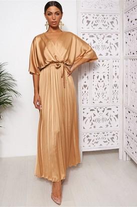 The Fashion Bible Gold Cape Sleeve Satin Maxi Dress