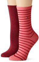 Tommy Hilfiger Women's Knitted 100 DEN Calf Socks - Red - 7