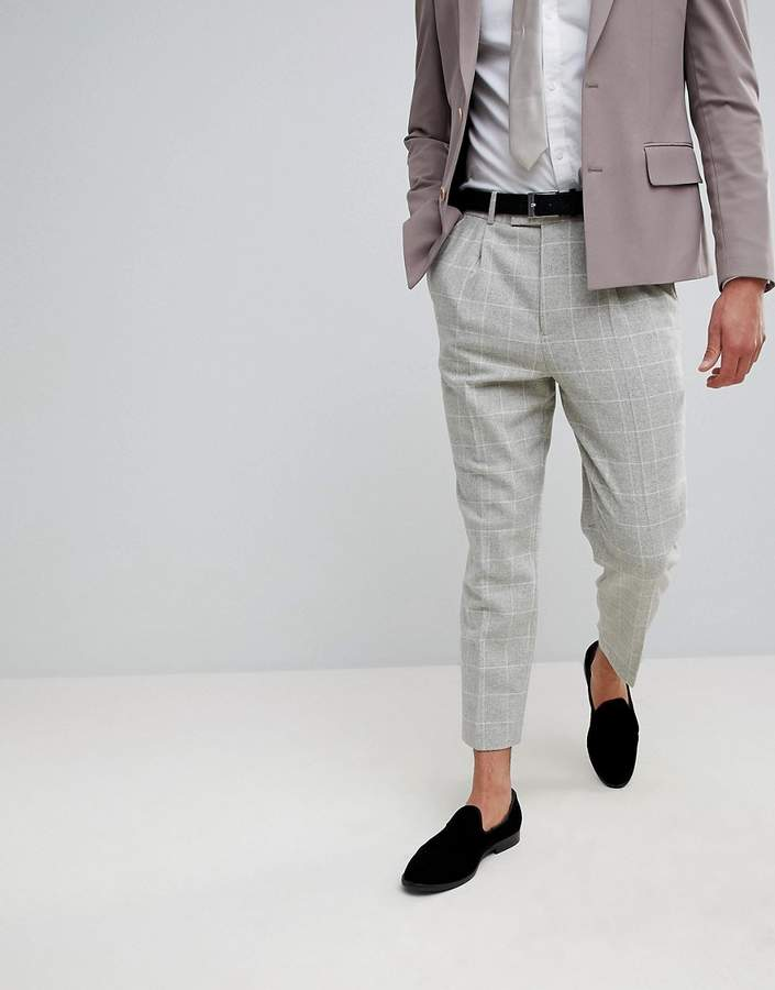 Asos Design Wedding Tapered Smart Pants In Putty Wool Mix Check