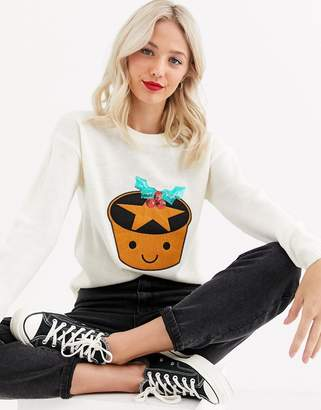 Brave Soul mince pie christmas jumper with sequin detail-Cream