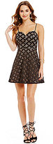 B. Darlin Two-Tone Laser Cut Fit-and-Flare Dress