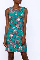 Aryeh Teal Floral Sheath Dress