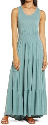 Caslon Tiered Smocked Waist Jersey Maxi Dress