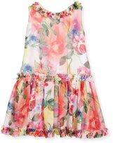 Helena Sleeveless Smocked Floral Chiffon Dress, Multicolor, Size 7-14