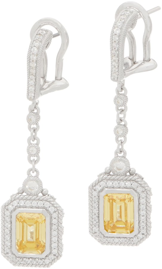 948818ae75b59 Sterling or 14K Clad Canary Diamonique Drop Earrings