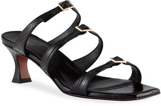 MANU Atelier Naomi Lizard-Printed Buckle Strap Slide Sandals