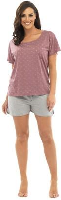 Lora Dora Womens Pyjamas Short Or Long Pjs Short Pink Grey 8-10