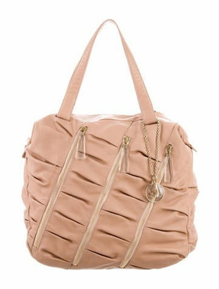 Christian Louboutin Pleated Leather Tote Beige