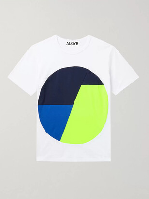 Aloye Colour-Block Mesh-Trimmed Cotton-Jersey T-Shirt