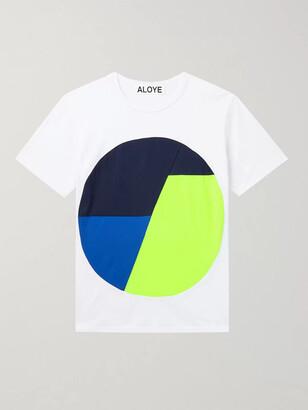 Colour-Block Mesh-Trimmed Cotton-Jersey T-Shirt