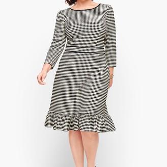 Talbots Flounce Hem Ponte Shift Dress - Dot Stripe