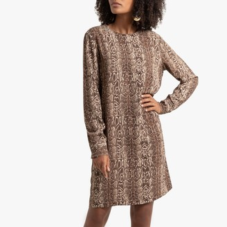 La Redoute Collections Snake Print Shift Dress with Long Sleeves
