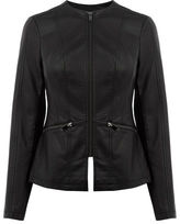"Oasis FAUX LEATHER COLLARLESS JACKET [span class=""variation_color_heading""]- Black[/span]"