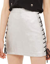 Topshop Lace-Up Faux Leather Mini Skirt