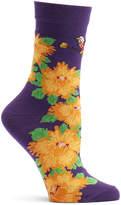 Ozone Violet Birds & Blossoms Crew Socks - Women