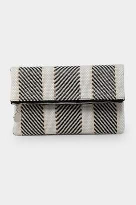 francesca's Jasmine Straw Fold Over Clutch - Black/White