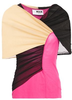 MSGM Ruched Color-block Mesh Top