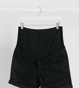 Mama Licious Mamalicious denim shorts with bump band in black