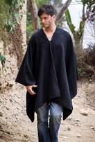Peruvian Poncho for Men in Warm Alpaca Blend, 'Inca Explorer in Black'
